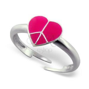 Prstýnek ze stříbra 925 - růžové srdce Peace