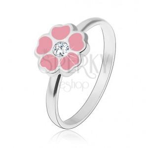 Dětský stříbrný prsten 925 - růžový květ, zirkon