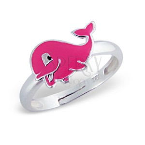 Prsten pro děti, stříbro 925 - delfín, růžový