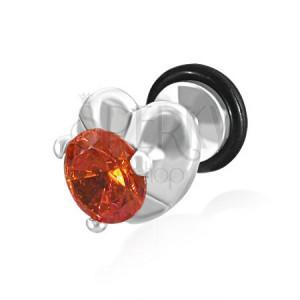 Falešný plug do ucha - srdce a oranžovo-červený zirkon