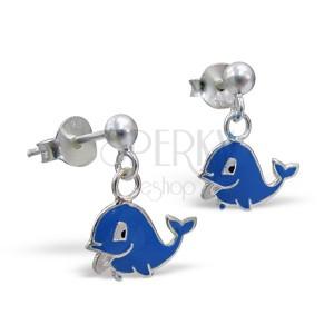 Stříbrné náušničky 925 - šťastný delfín, visící