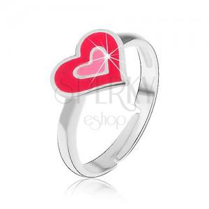 Dětský stříbrný prsten 925 - růžová srdíčka