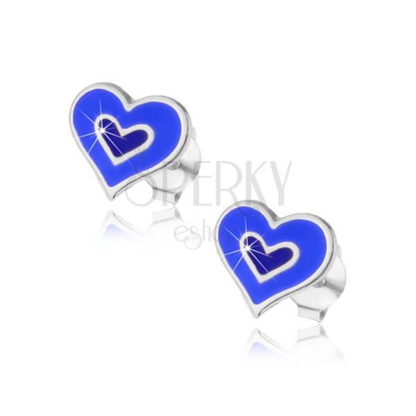 Stříbrné náušničky 925 - dvojité srdce v modré nebo růžové barvě