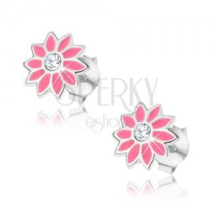 Puzetové stříbrné náušnice - růžový květ se zirkonem