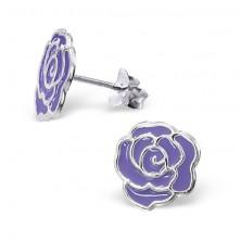 Puzetové stříbrné náušnice 925 - růže