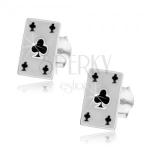 Náušničky ze stříbra 925 - kartový symbol, trojlístek