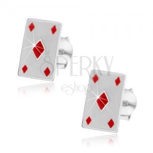 Stříbrné náušnice 925 - karta červená kára