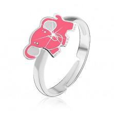 Dětský stříbrný prsten 925 - růžový slon