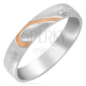 Ocelový prsten - polovina srdce, zrcadlový lesk