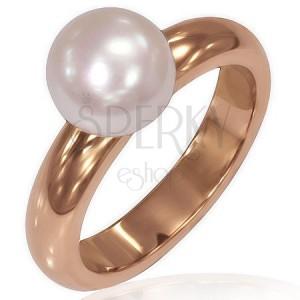 Dámský prsten z oceli - pozlacený růžovým zlatem, perla