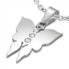 Přívěsek z oceli malý motýl se dvěma zirkony