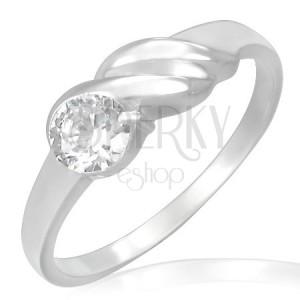 Zásnubní prsten z oceli - třpytivý zirkon, vlnky