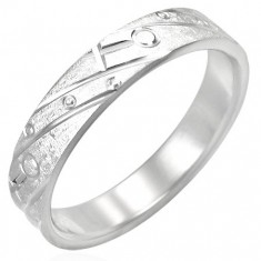 Ocelový prsten - matný s gravírovaným vzorem K12.3