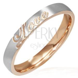 Ocelový prsten - měděno-stříbrný, Love