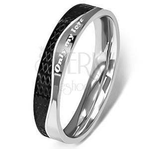 Ocelový prsten - stříbrná a černá barva, vlnovka