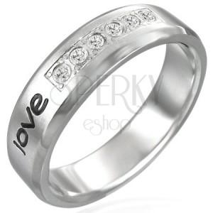 """Ocelový prsten - nápis """"love"""", šest zirkonů"""