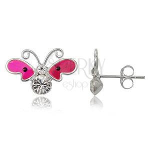 Náušnice ze stříbra - neonově růžový motýl se zirkony