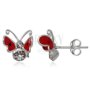 Náušnice ze stříbra 925 - červený, létající motýlek