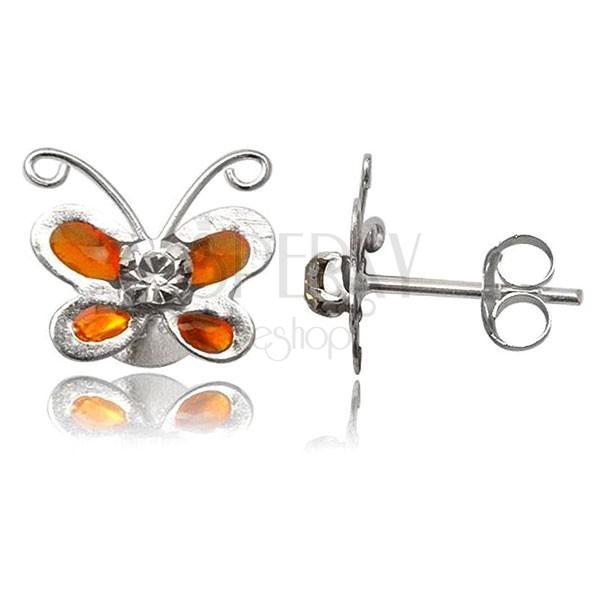 Stříbrné náušnice 925 - oranžový motýlek s čirým zirkonem
