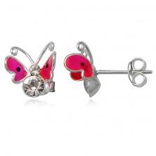 Náušnice ze stříbra 925 - růžový lítající motýl, dva zirkony