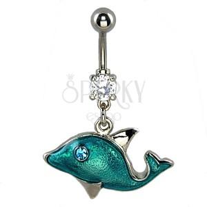Piercing do pupíku - modrý delfín, zirkonové oko