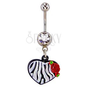 Piercing do pupíku - srdce,  vzor černobílá zebra a růže