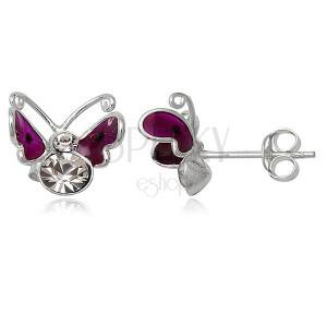 Stříbrné náušnice 925 - lítající motýlek, fialový s tečkou