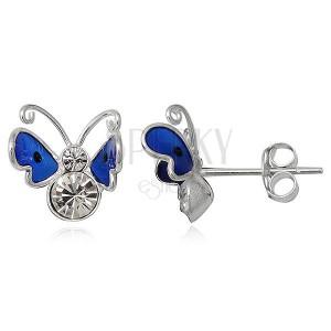Náušnice ze stříbra - modrý lítající motýl se zirkony
