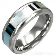 Snubní prsten z chirurgické oceli s perletí