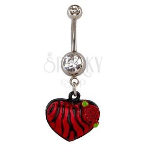 Piercing do pupíku - srdce, vzor červeno-černá zebra, růže
