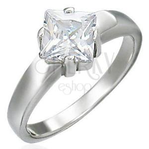 Snubní prsten z chirurgické oceli, čtvercový zirkon
