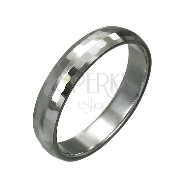 Wolframový prsten s jemnými broušenými obdélníky, 3 mm