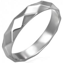 Dámský ocelový prsten - kosočtvercový vzor lesklý