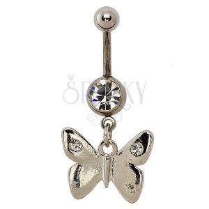 Piercing do pupíku - hladký lesklý motýl, dva zirkony na křídlech