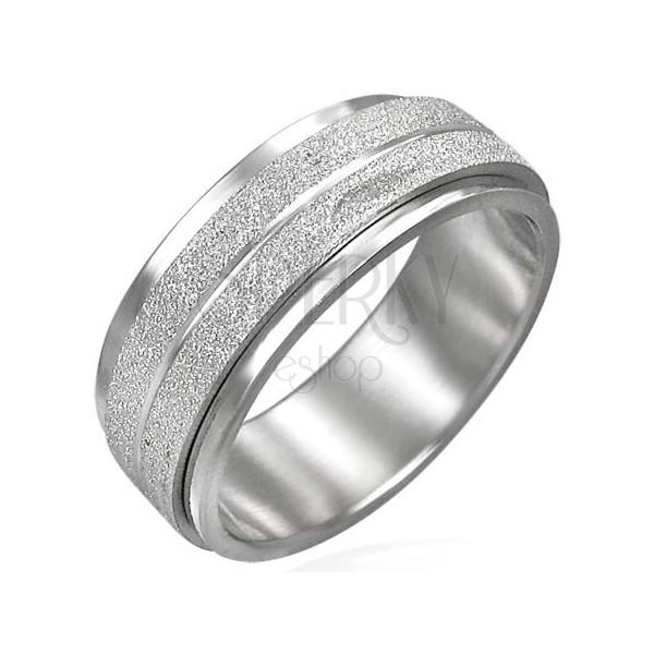 Ocelový prsten s otáčivým středním pásem - matné broušení