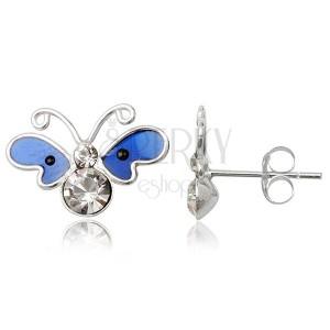 Náušnice motýlek ze stříbra - tmavě modrá smaltová křídla, zirkony