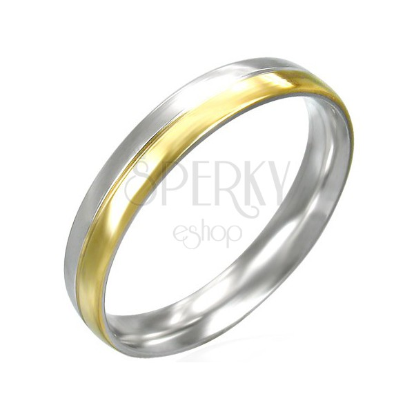 Dámský prstýnek z oceli - dvoubarevný - stříbrno-zlatý