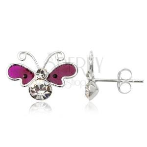 Stříbrné náušnice motýl - fialová křídla, zirkonové tělíčko