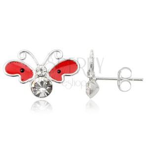 Stříbrné náušnice 925 - motýl, červená křídla s černými tečkami