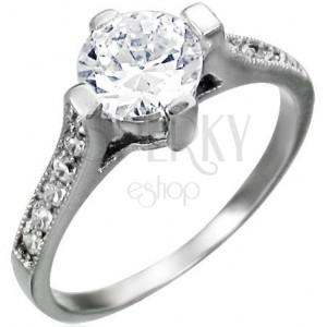 Zásnubní prsten dámský s očkem a 6 zirkony po obou stranách