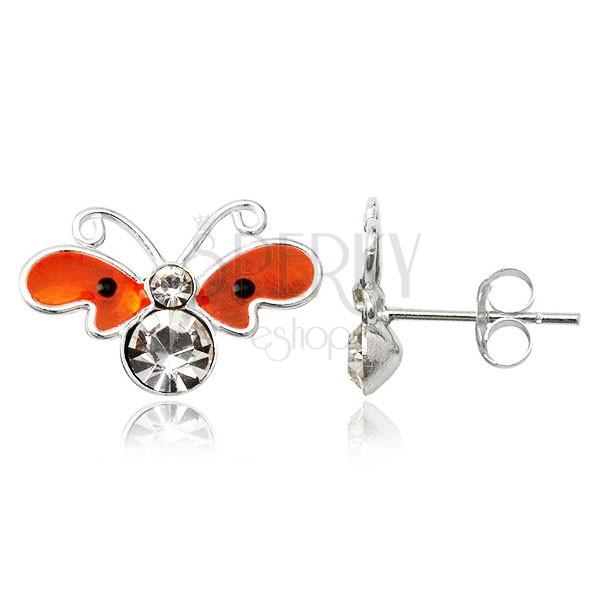 Stříbrné puzetové náušnice - plochý oranžový motýl, zirkony