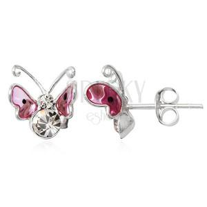 Náušnice ze stříbra 925 - růžový 3D motýl, černé tečky