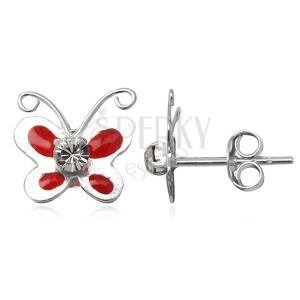 Náušnice ze stříbra - glazurový červený motýlk, čirý zirkon