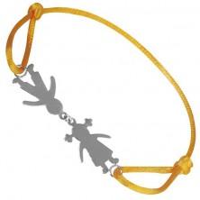 Náramek ze stříbra - chlapec a děvče na žluté šňůrce, spojení u hlav
