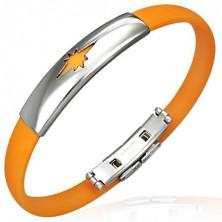 Gumový náramek vzor hvězda, oranžový