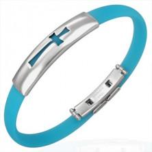 Gumový náramek vzor kříž, aqua modrý