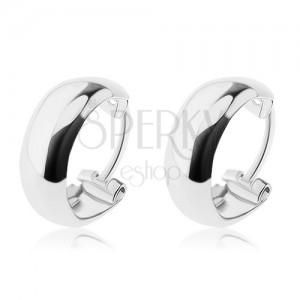 Stříbrné náušnice 925 - zaoblené kruhy s prohlubní, 10 mm
