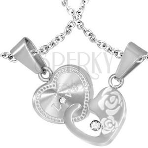 Ocelové přívěsky pro dvojici - propojená srdce, nápis, růže a zirkony