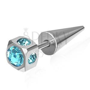 Falešný expandr z oceli - kostka, vsazené světle modré zirkony