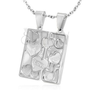 Ocelový dvojpřívěsek - gravírovaná tabulka, obrysová srdce